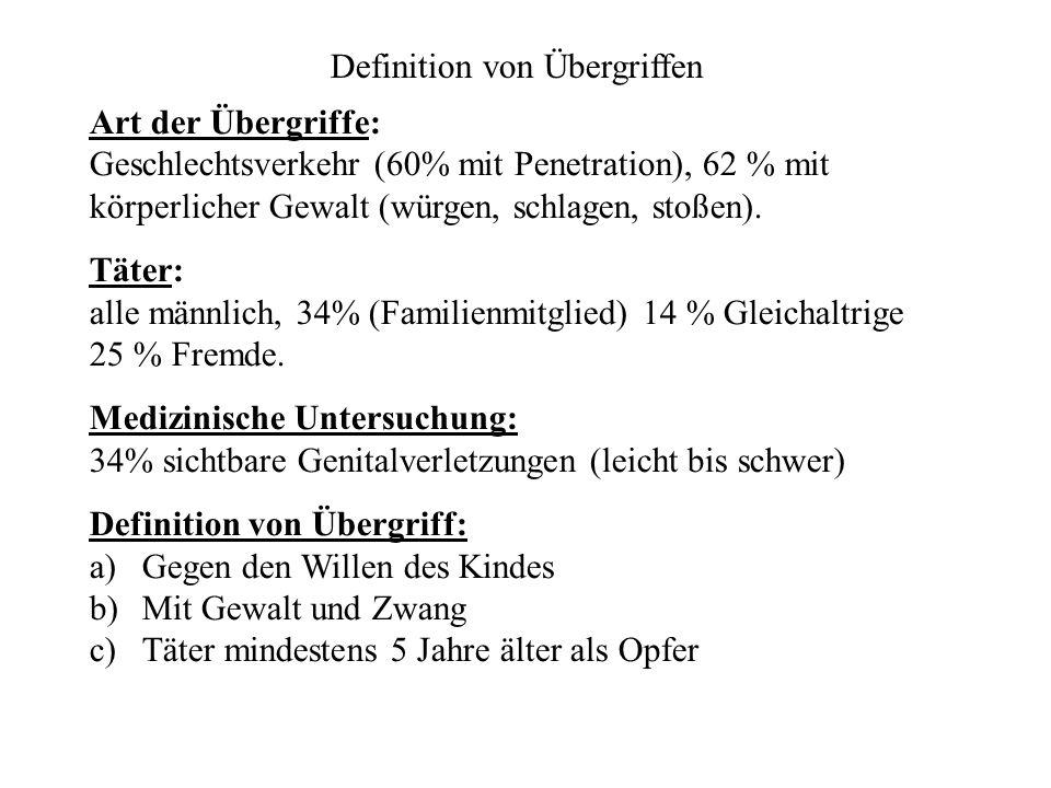 Art der Übergriffe: Geschlechtsverkehr (60% mit Penetration), 62 % mit körperlicher Gewalt (würgen, schlagen, stoßen).