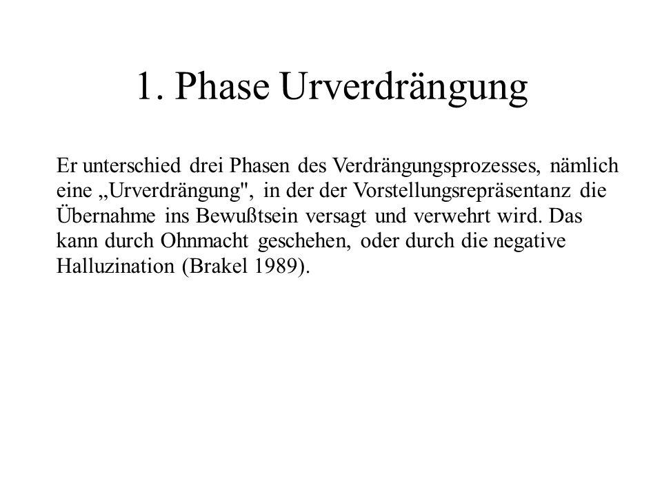 1. Phase Urverdrängung Er unterschied drei Phasen des Verdrängungsprozesses, nämlich eine Urverdrängung