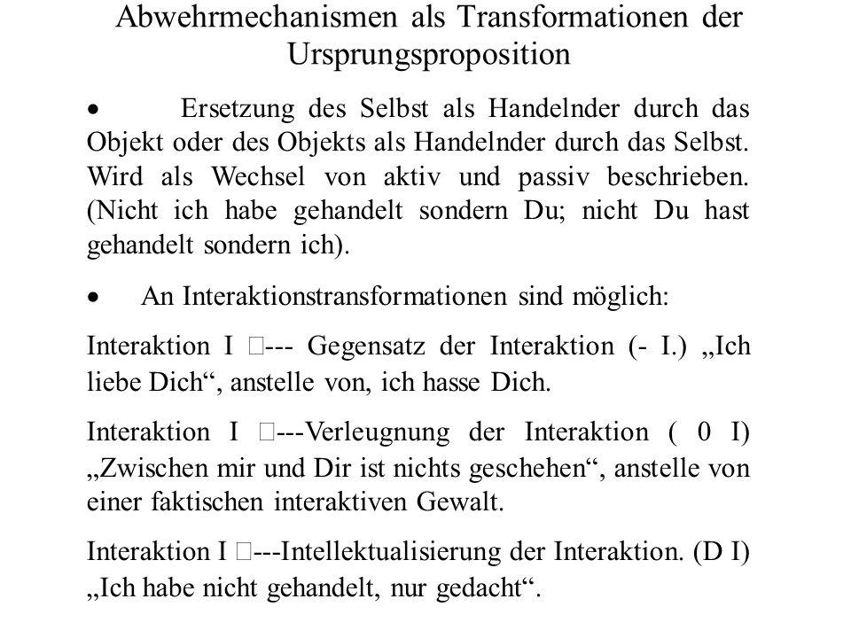 Abwehrmechanismen als Transformationen der Ursprungsproposition Ersetzung des Selbst als Handelnder durch das Objekt oder des Objekts als Handelnder durch das Selbst.