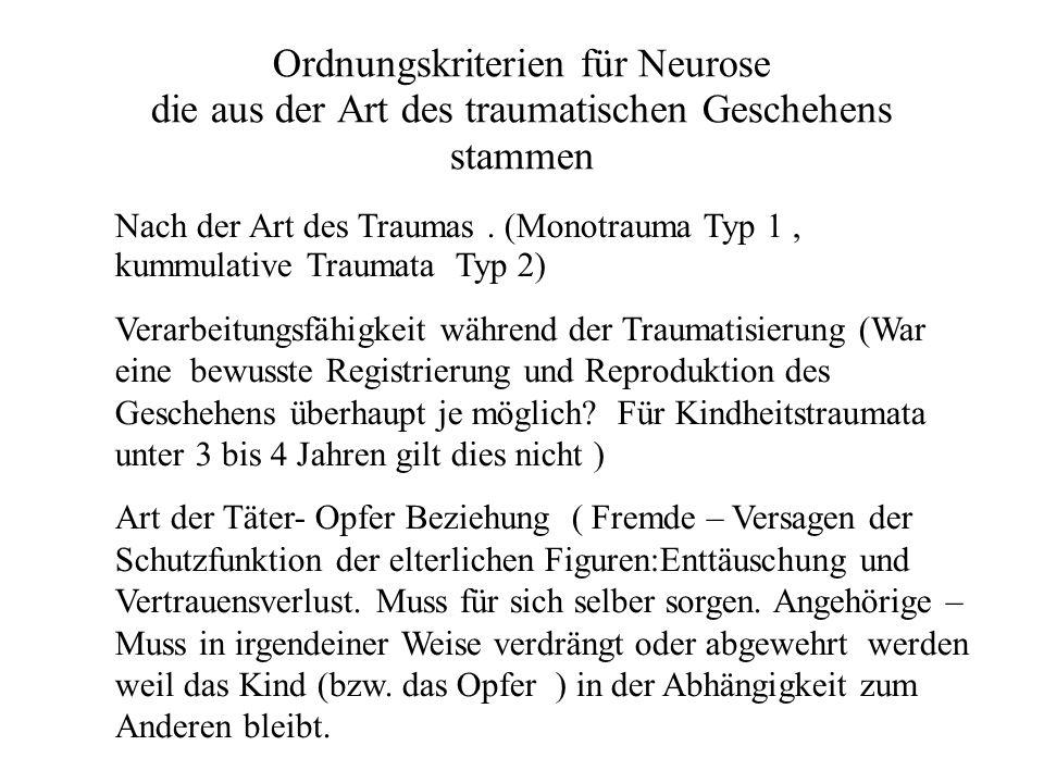 Ordnungskriterien für Neurose die aus der Art des traumatischen Geschehens stammen Nach der Art des Traumas.