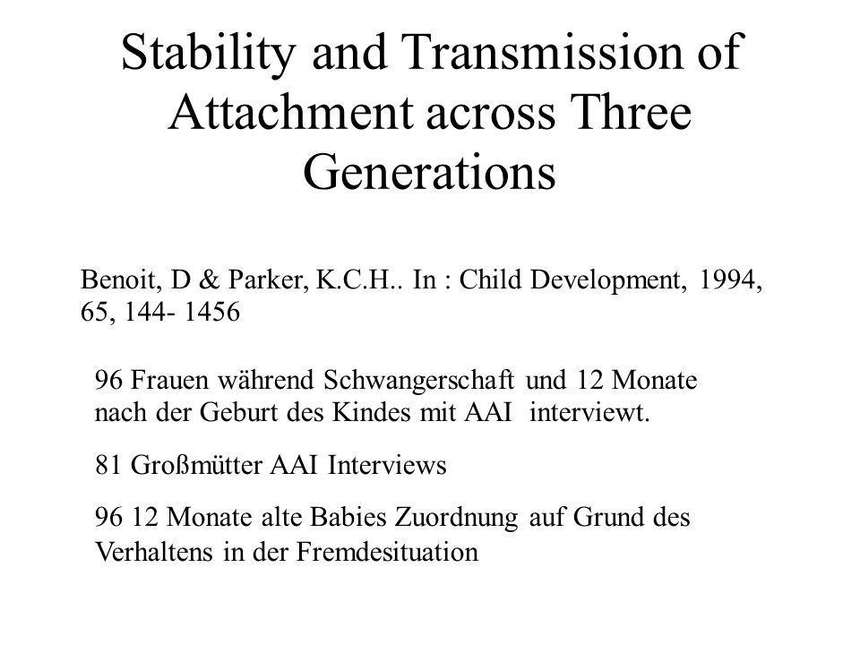 Stability and Transmission of Attachment across Three Generations Benoit, D & Parker, K.C.H..