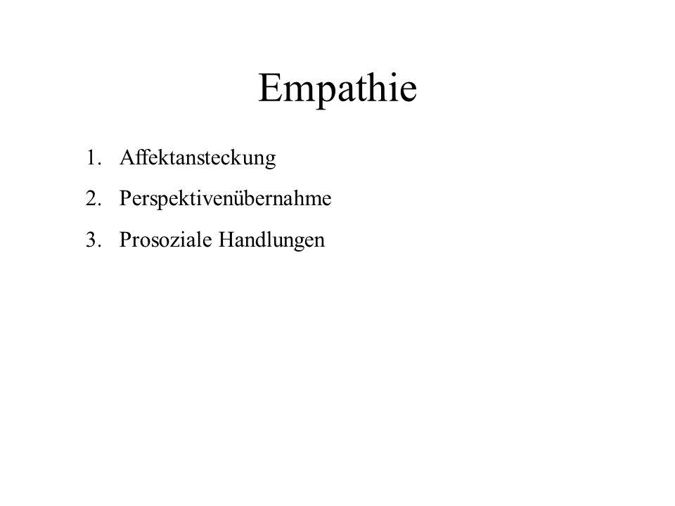 Empathie 1.Affektansteckung 2.Perspektivenübernahme 3.Prosoziale Handlungen