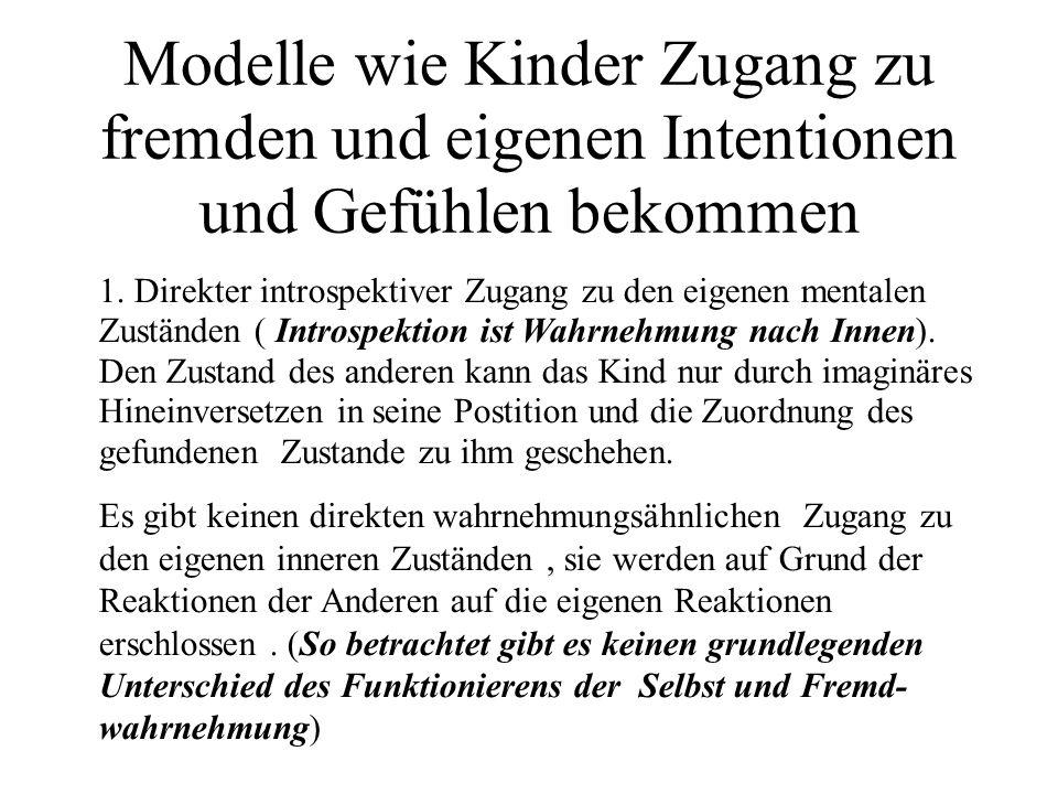 Modelle wie Kinder Zugang zu fremden und eigenen Intentionen und Gefühlen bekommen 1.