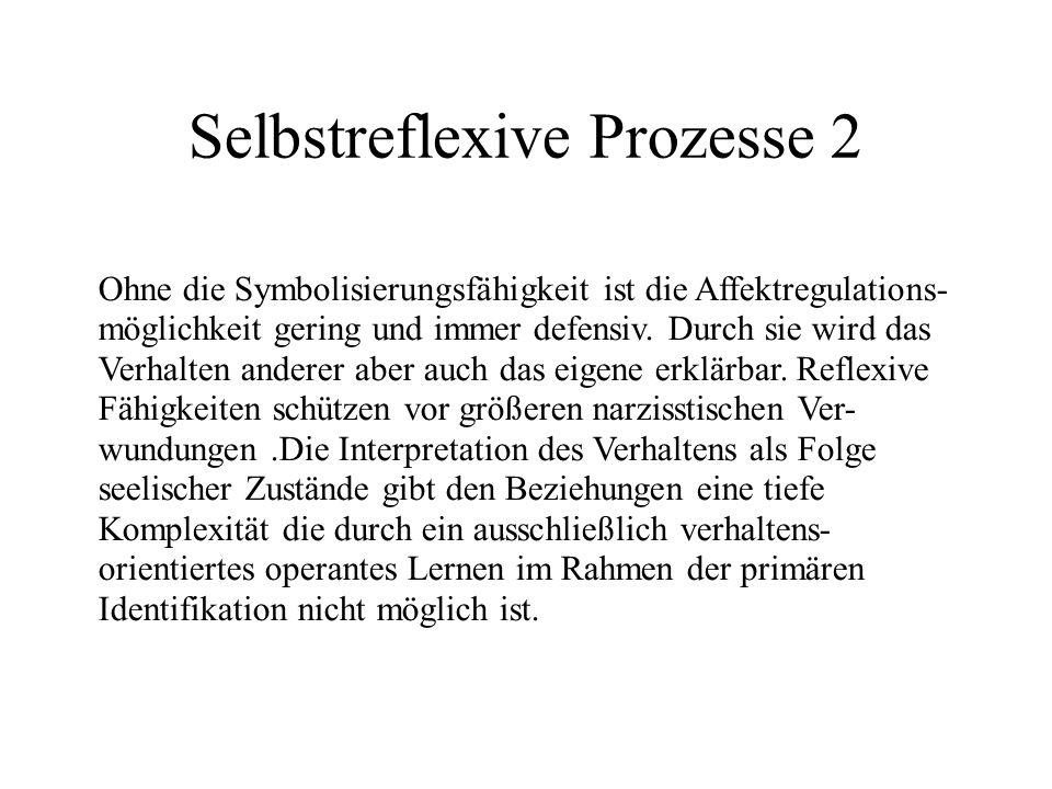 Selbstreflexive Prozesse 2 Ohne die Symbolisierungsfähigkeit ist die Affektregulations- möglichkeit gering und immer defensiv.