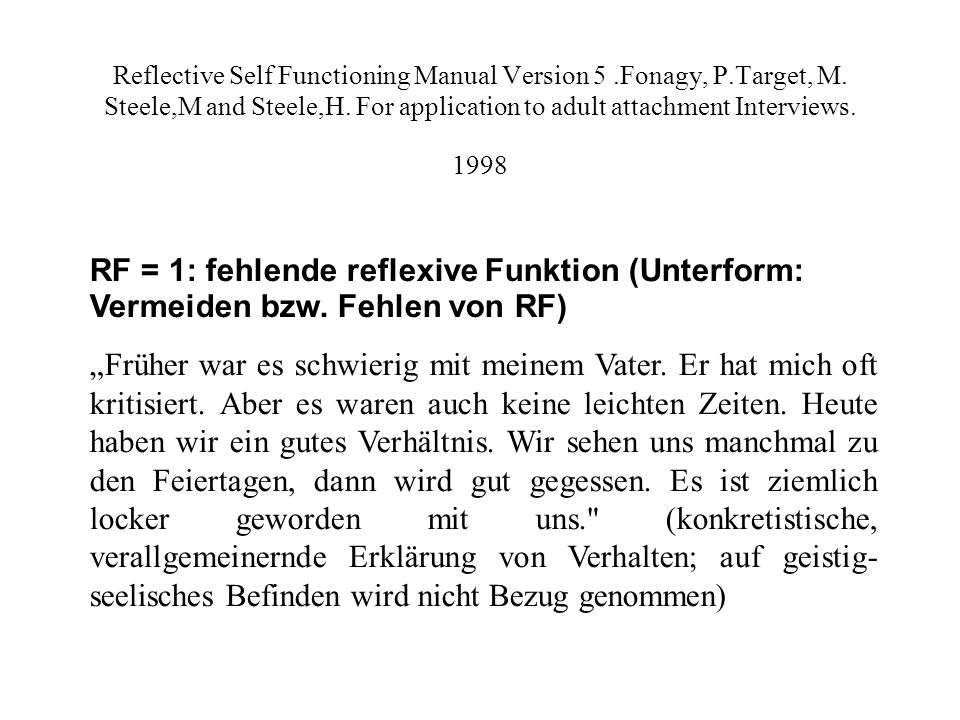Reflective Self Functioning Manual Version 5.Fonagy, P.Target, M.