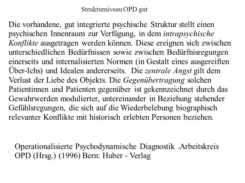 Strukturniveau OPD gut Die vorhandene, gut integrierte psychische Struktur stellt einen psychischen Innenraum zur Verfügung, in dem intrapsychische Konflikte ausgetragen werden können.