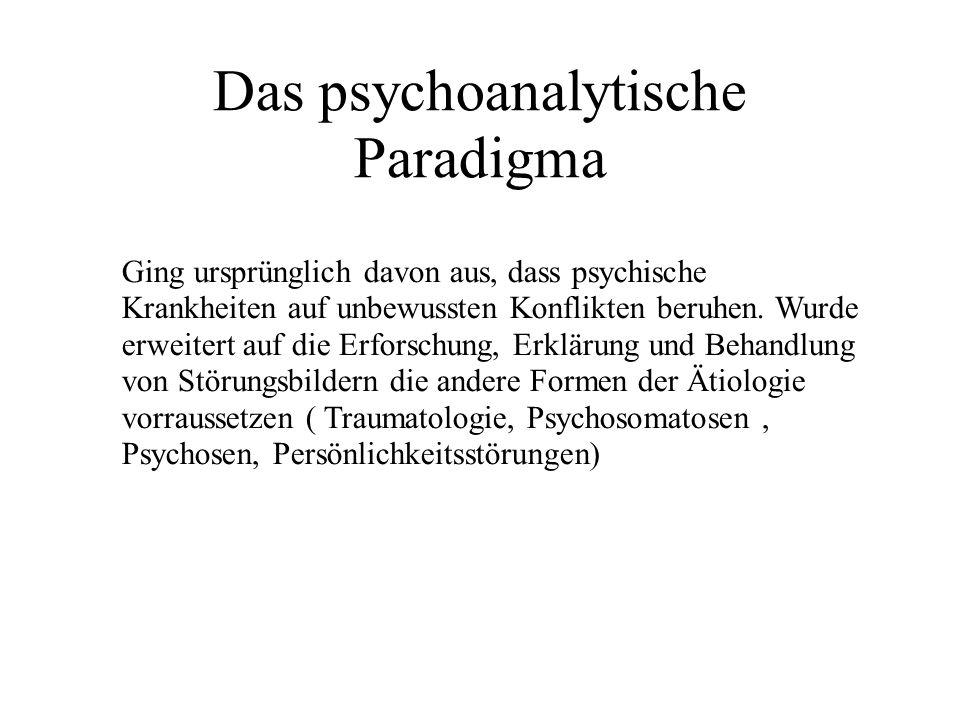 Das psychoanalytische Paradigma Ging ursprünglich davon aus, dass psychische Krankheiten auf unbewussten Konflikten beruhen.