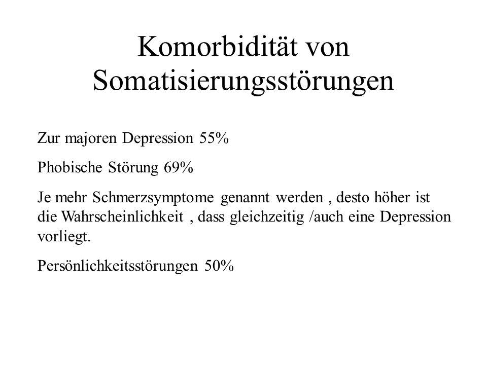 Komorbidität von Somatisierungsstörungen Zur majoren Depression 55% Phobische Störung 69% Je mehr Schmerzsymptome genannt werden, desto höher ist die Wahrscheinlichkeit, dass gleichzeitig /auch eine Depression vorliegt.