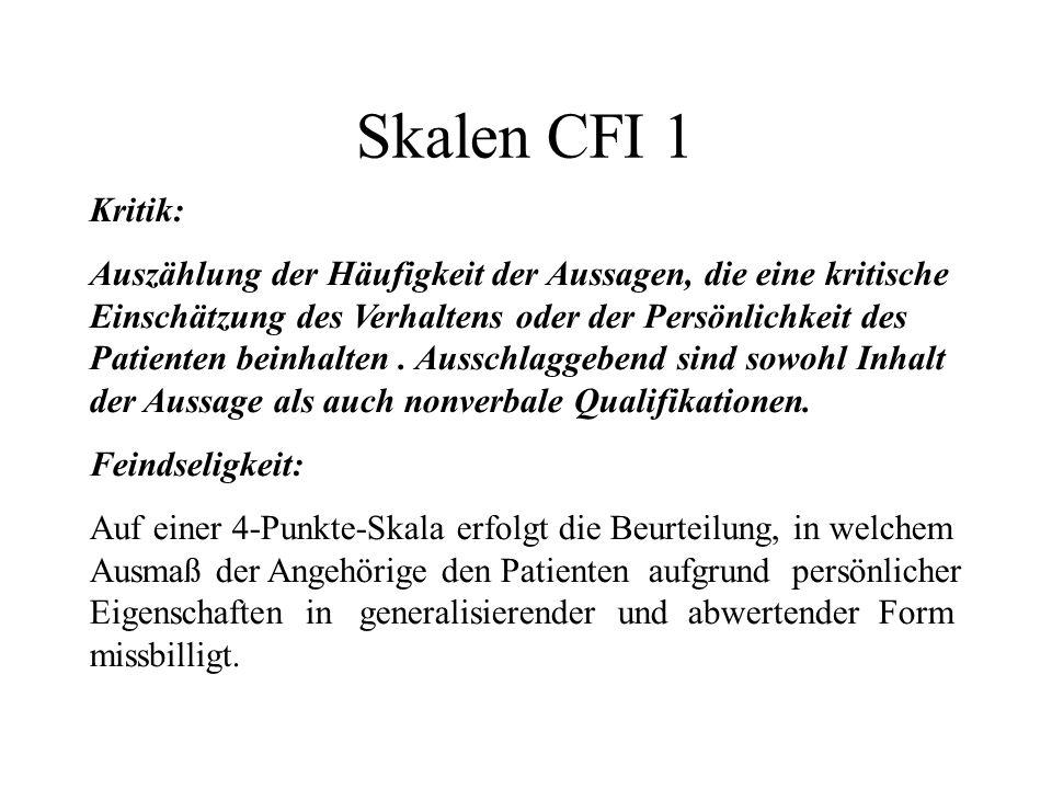 Skalen CFI 1 Kritik: Auszählung der Häufigkeit der Aussagen, die eine kritische Einschätzung des Verhaltens oder der Persönlichkeit des Patienten beinhalten.