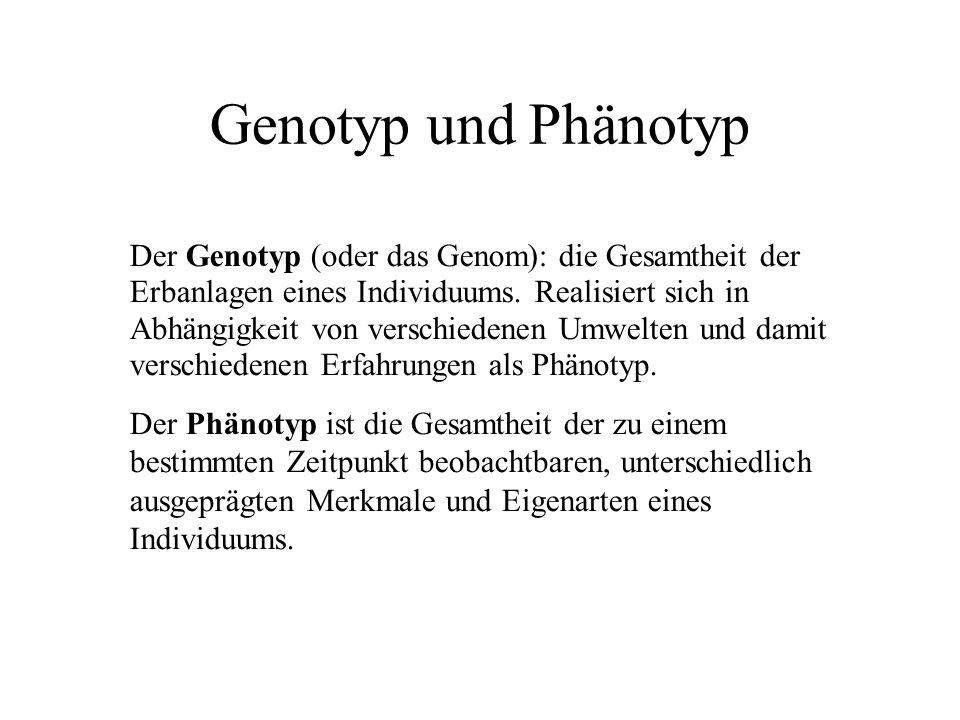 Genotyp und Phänotyp Der Genotyp (oder das Genom): die Gesamtheit der Erbanlagen eines Individuums.