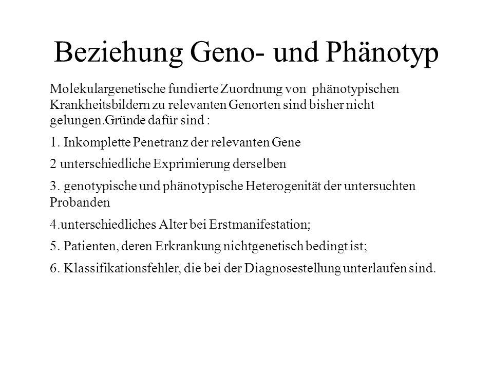 Beziehung Geno- und Phänotyp Molekulargenetische fundierte Zuordnung von phänotypischen Krankheitsbildern zu relevanten Genorten sind bisher nicht gelungen.Gründe dafür sind : 1.