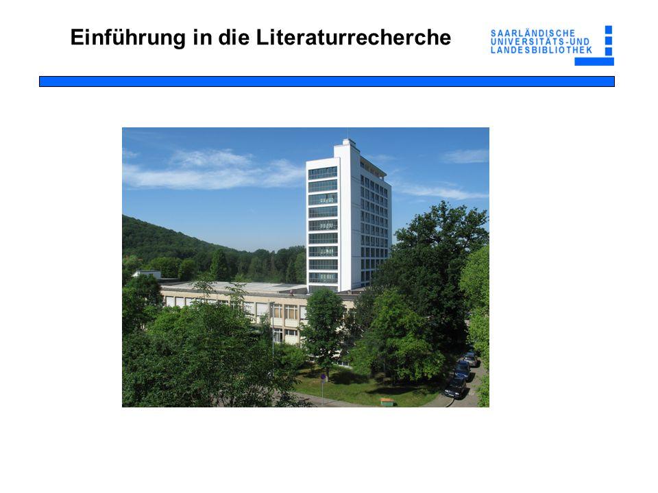Von der Literaturliste zur Literatur Recherche im Online-Katalog der SULB enthält auch Bestandsangaben der Institutsbibliotheken Nachweis der elektronischen Medien (E-Books, E-Journals etc.) Ich habe konkrete Literaturangaben vorliegen (z.B.