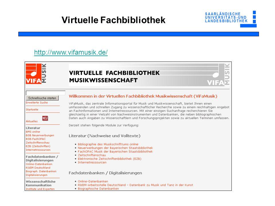 Virtuelle Fachbibliothek http://www.vifamusik.de/