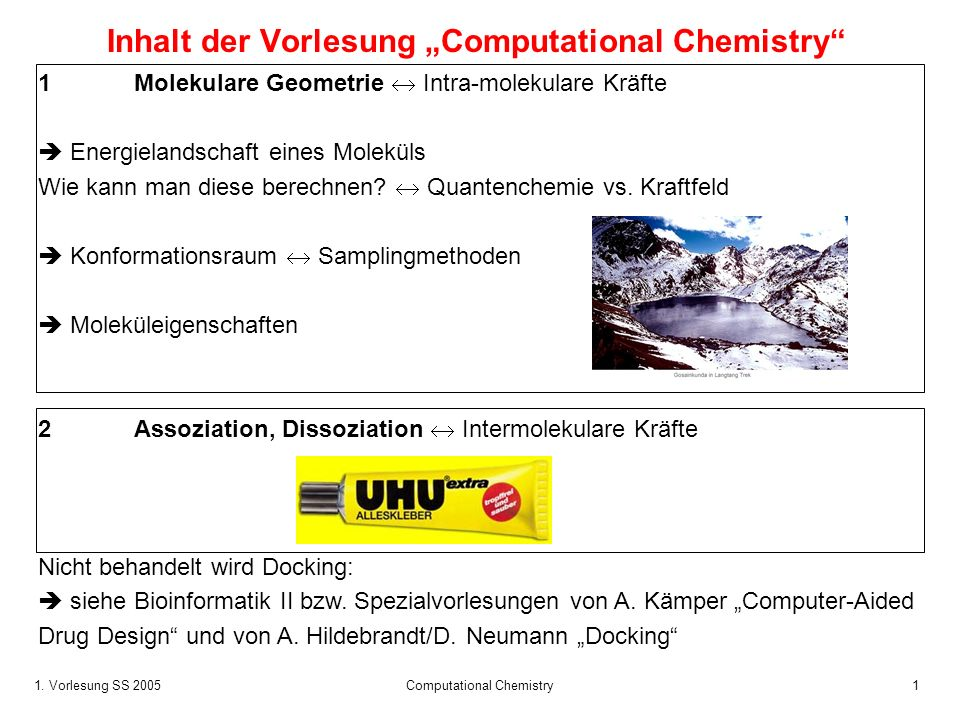 1. Vorlesung SS 2005 Computational Chemistry1 Inhalt der Vorlesung Computational Chemistry 1 Molekulare Geometrie Intra-molekulare Kräfte Energielands