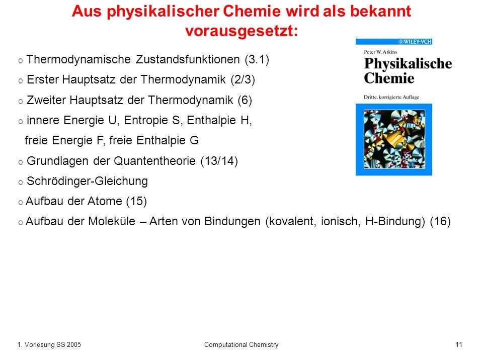 1. Vorlesung SS 2005 Computational Chemistry11 Aus physikalischer Chemie wird als bekannt vorausgesetzt: o Thermodynamische Zustandsfunktionen (3.1) o