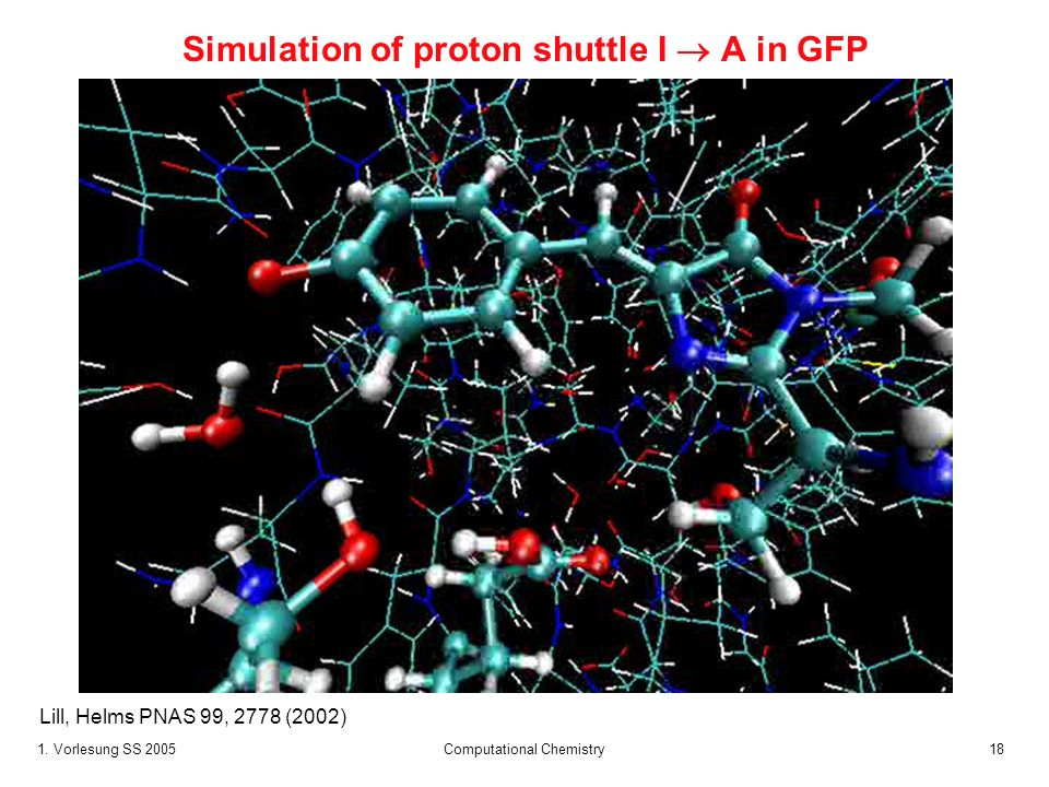 1. Vorlesung SS 2005 Computational Chemistry18 Simulation of proton shuttle I A in GFP Lill, Helms PNAS 99, 2778 (2002)