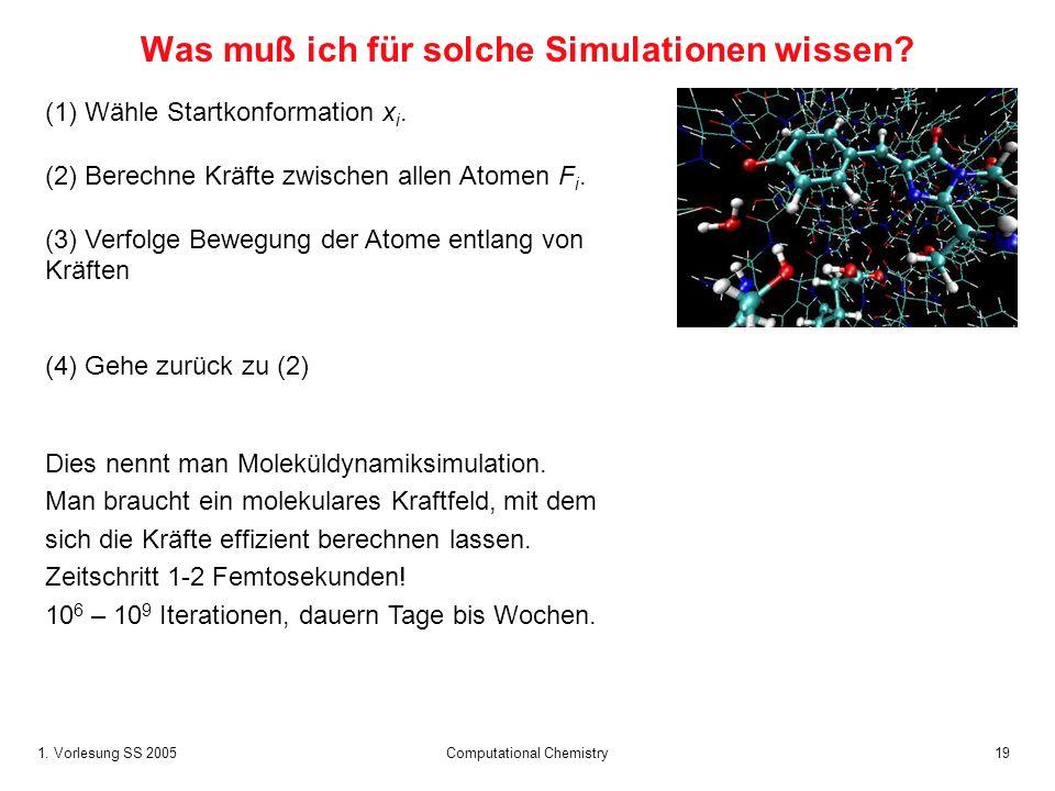 1. Vorlesung SS 2005 Computational Chemistry19 Was muß ich für solche Simulationen wissen? (1) Wähle Startkonformation x i. (2) Berechne Kräfte zwisch