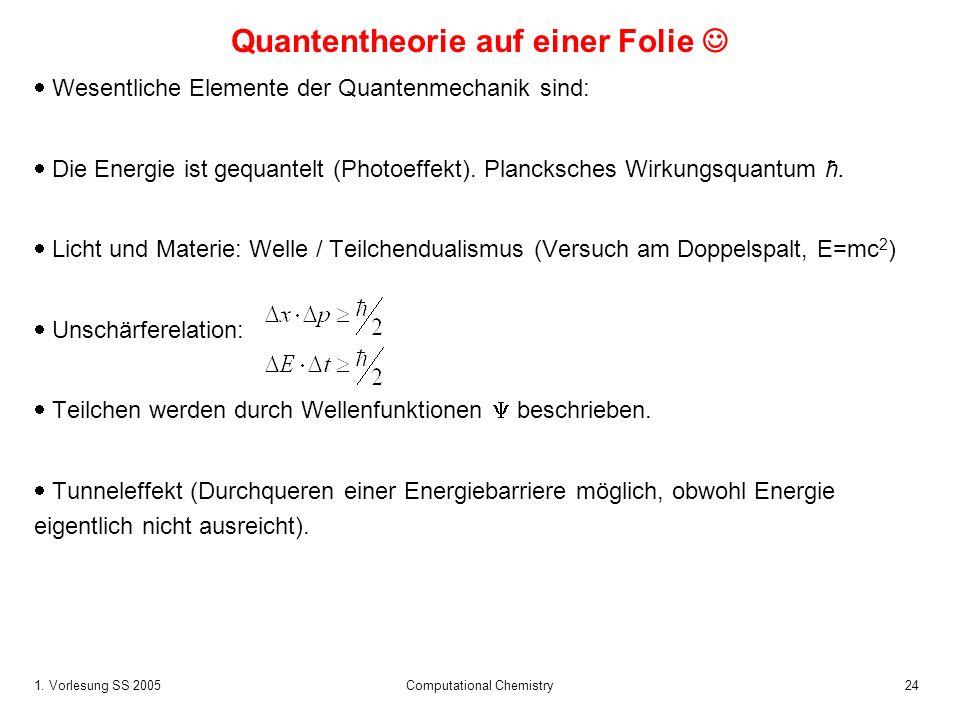 1. Vorlesung SS 2005 Computational Chemistry24 Quantentheorie auf einer Folie Wesentliche Elemente der Quantenmechanik sind: Die Energie ist gequantel