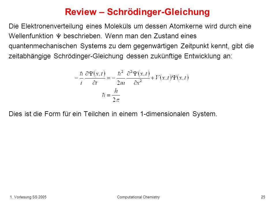 1. Vorlesung SS 2005 Computational Chemistry25 Review – Schrödinger-Gleichung Die Elektronenverteilung eines Moleküls um dessen Atomkerne wird durch e