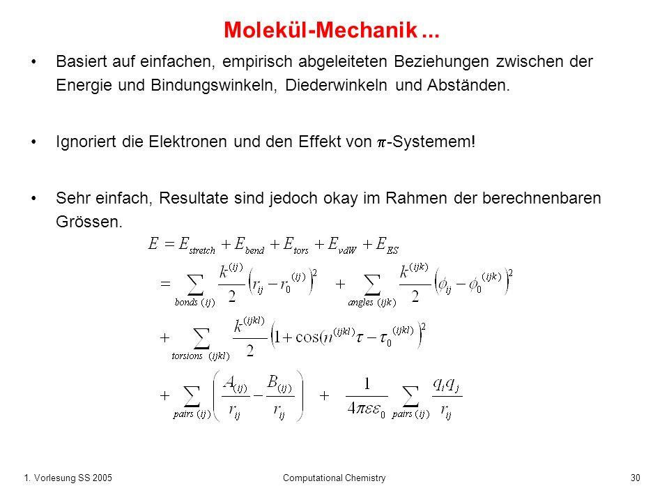 1. Vorlesung SS 2005 Computational Chemistry30 Molekül-Mechanik... Basiert auf einfachen, empirisch abgeleiteten Beziehungen zwischen der Energie und