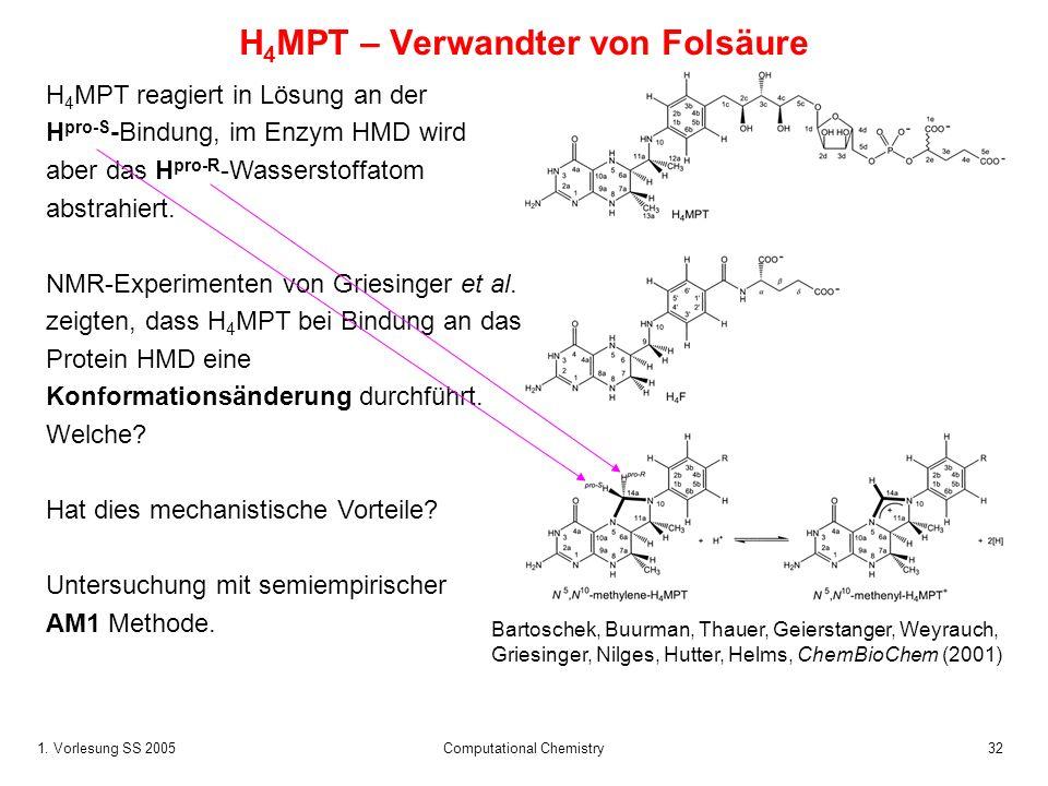 1. Vorlesung SS 2005 Computational Chemistry32 H 4 MPT – Verwandter von Folsäure Bartoschek, Buurman, Thauer, Geierstanger, Weyrauch, Griesinger, Nilg