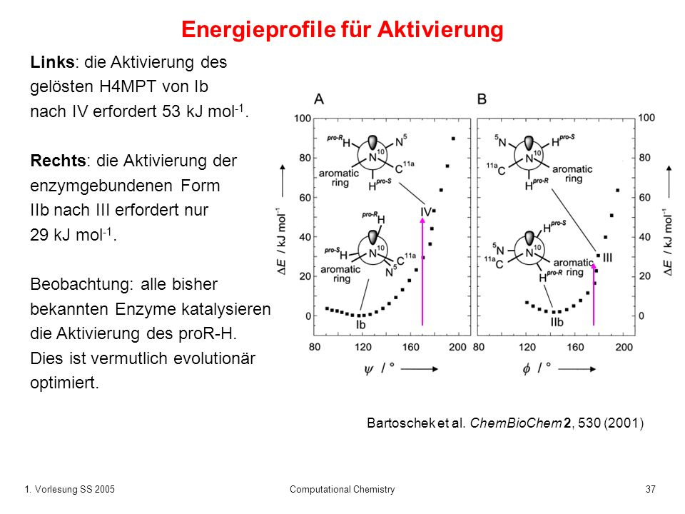 1. Vorlesung SS 2005 Computational Chemistry37 Energieprofile für Aktivierung Links: die Aktivierung des gelösten H4MPT von Ib nach IV erfordert 53 kJ