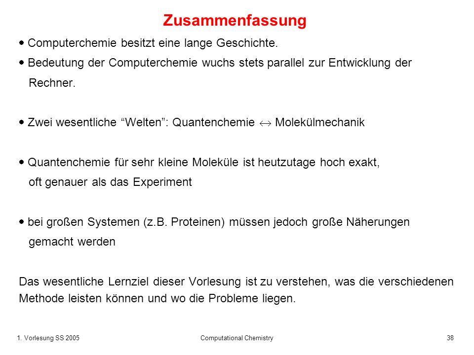 1. Vorlesung SS 2005 Computational Chemistry38 Zusammenfassung Computerchemie besitzt eine lange Geschichte. Bedeutung der Computerchemie wuchs stets