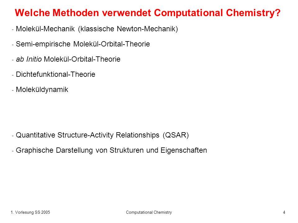 1. Vorlesung SS 2005 Computational Chemistry4 Welche Methoden verwendet Computational Chemistry? - Molekül-Mechanik (klassische Newton-Mechanik) - Sem