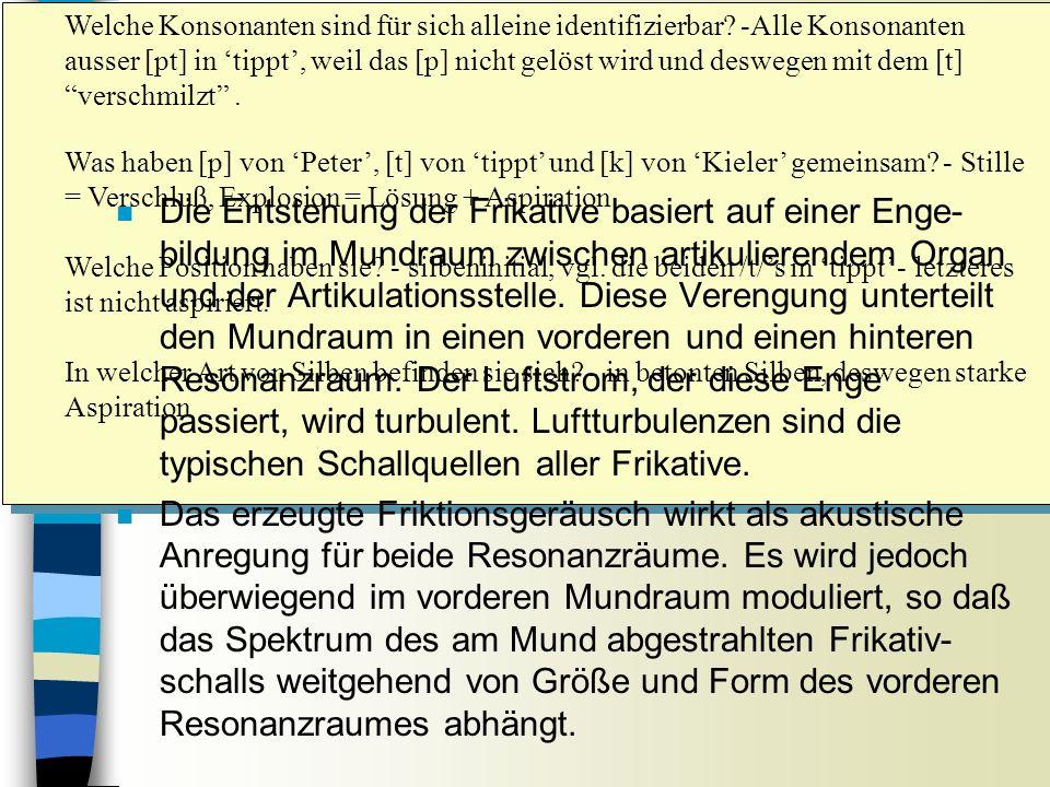 FRIKATIVE Sitzung 9 Welche Konsonanten sind für sich alleine identifizierbar.