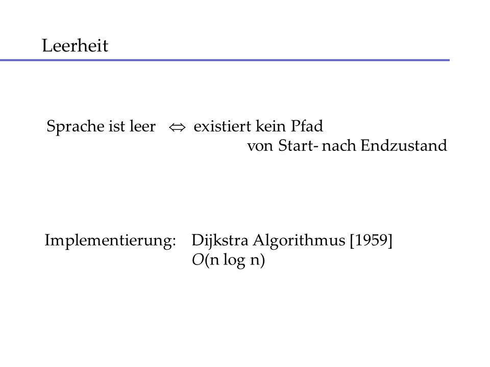 Leerheit Sprache ist leer existiert kein Pfad von Start- nach Endzustand Implementierung:Dijkstra Algorithmus [1959] O(n log n)