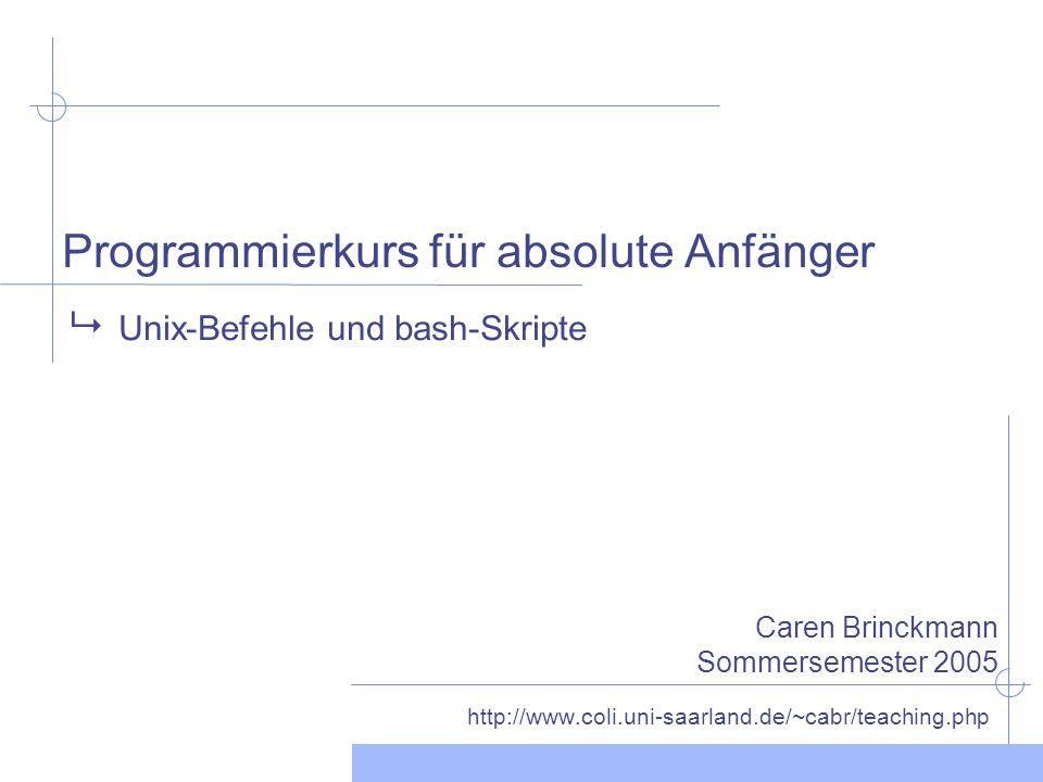 Programmierkurs für absolute Anfänger http://www.coli.uni-saarland.de/~cabr/teaching.php Unix-Befehle und bash-Skripte Caren Brinckmann Sommersemester 2005