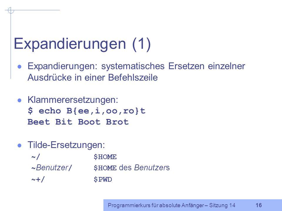 Programmierkurs für absolute Anfänger – Sitzung 14 15 Arithmetik Die bash kann nur mit ganzen Zahlen rechnen. Syntax: $(( Berechnung )) Beispiel: $ a=