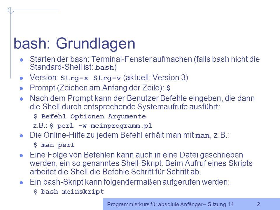 Programmierkurs für absolute Anfänger – Sitzung 14 2 bash: Grundlagen Starten der bash: Terminal-Fenster aufmachen (falls bash nicht die Standard-Shell ist: bash ) Version: Strg-x Strg-v (aktuell: Version 3) Prompt (Zeichen am Anfang der Zeile): $ Nach dem Prompt kann der Benutzer Befehle eingeben, die dann die Shell durch entsprechende Systemaufrufe ausführt: $ Befehl Optionen Argumente z.B.: $ perl -w meinprogramm.pl Die Online-Hilfe zu jedem Befehl erhält man mit man, z.B.: $ man perl Eine Folge von Befehlen kann auch in eine Datei geschrieben werden, ein so genanntes Shell-Skript.