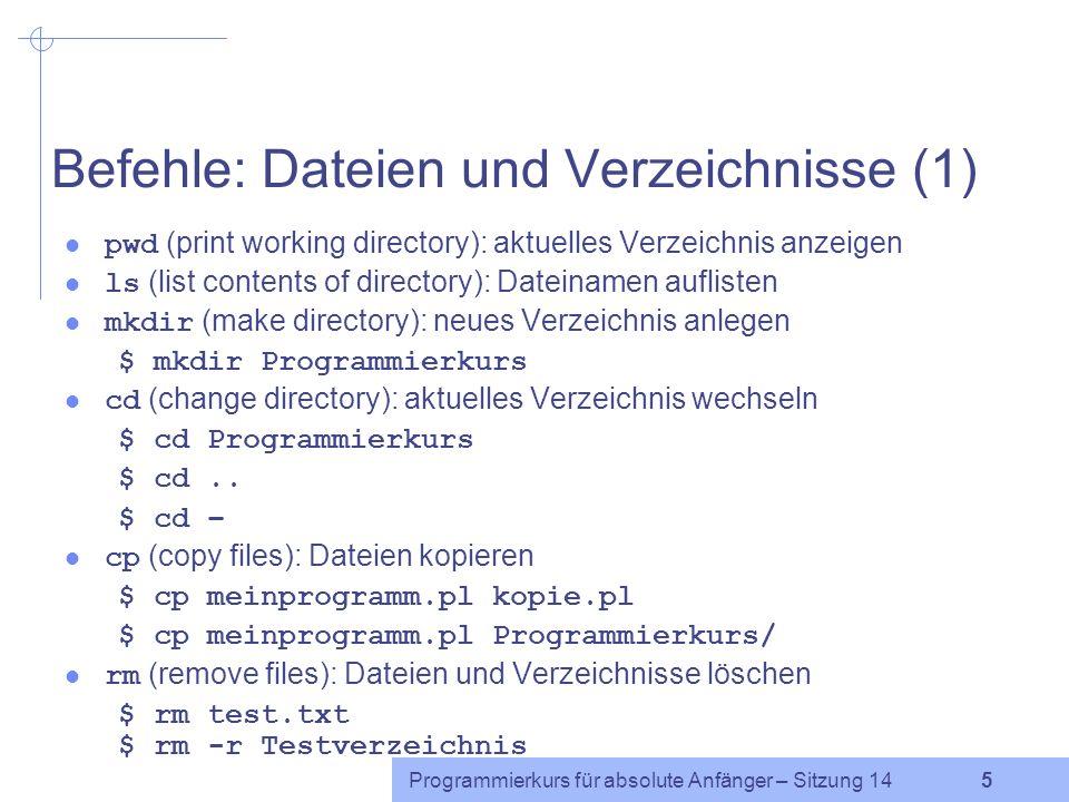 Programmierkurs für absolute Anfänger – Sitzung 14 15 Arithmetik Die bash kann nur mit ganzen Zahlen rechnen.