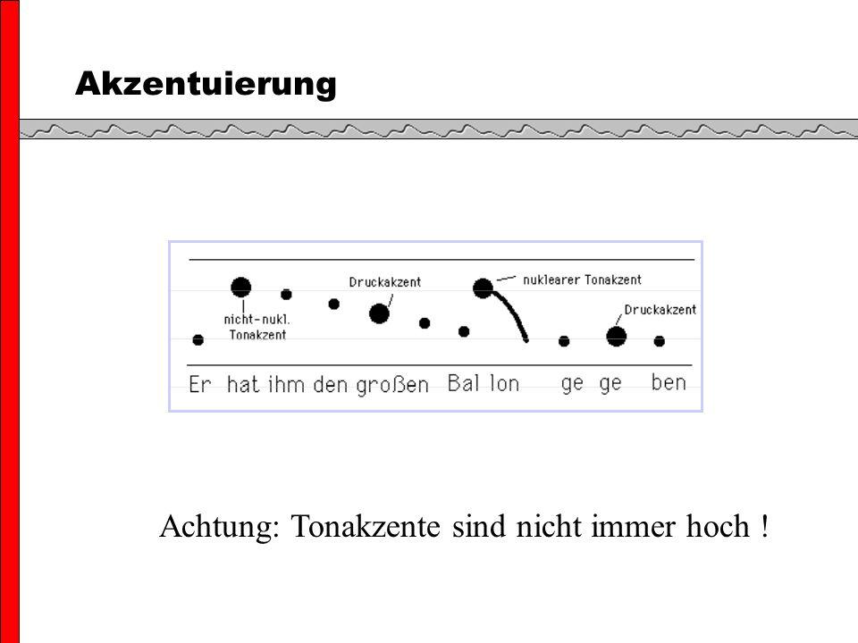 Struktur der Intonationsphrase Zwei Akzenttypen: (1) Prenukleare Akzenteinheit; auch Head genannt (2) Nukleare Akzenteinheit; auch Nucleus genannt Der nukleare Akzent ist der letzte Akzent in der IP Der Head beinhaltet alle prenukleare Akzente