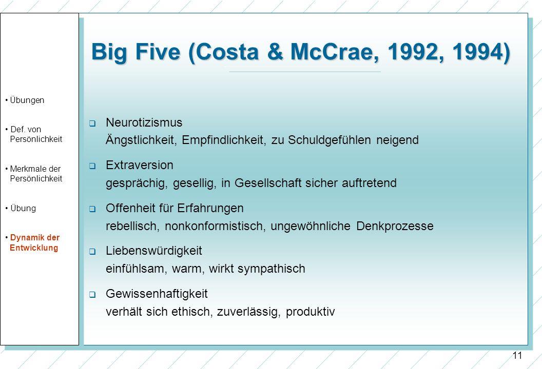 11 Big Five (Costa & McCrae, 1992, 1994) Neurotizismus Ängstlichkeit, Empfindlichkeit, zu Schuldgefühlen neigend Extraversion gesprächig, gesellig, in