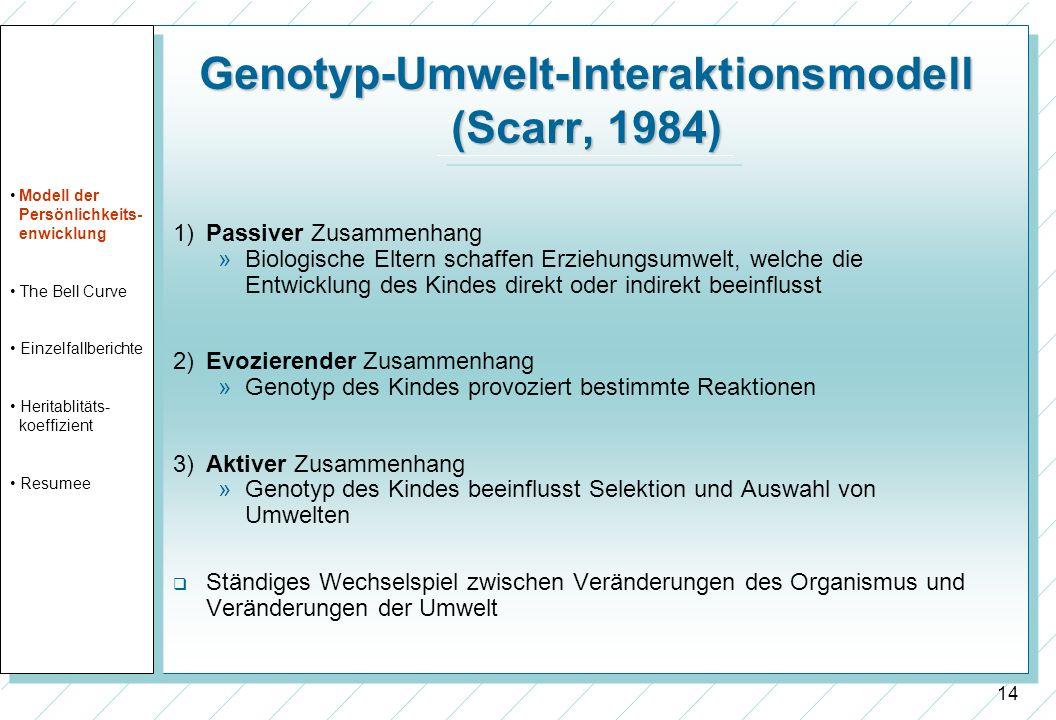 14 Genotyp-Umwelt-Interaktionsmodell (Scarr, 1984) 1) Passiver Zusammenhang »Biologische Eltern schaffen Erziehungsumwelt, welche die Entwicklung des