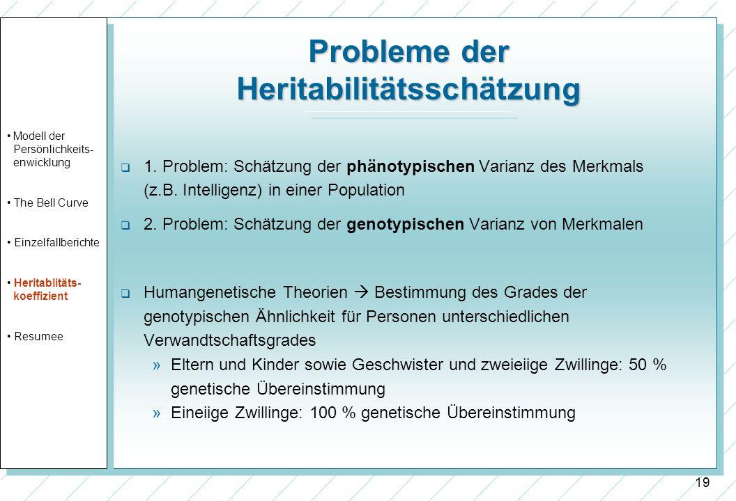 19 Probleme der Heritabilitätsschätzung 1. Problem: Schätzung der phänotypischen Varianz des Merkmals (z.B. Intelligenz) in einer Population 2. Proble