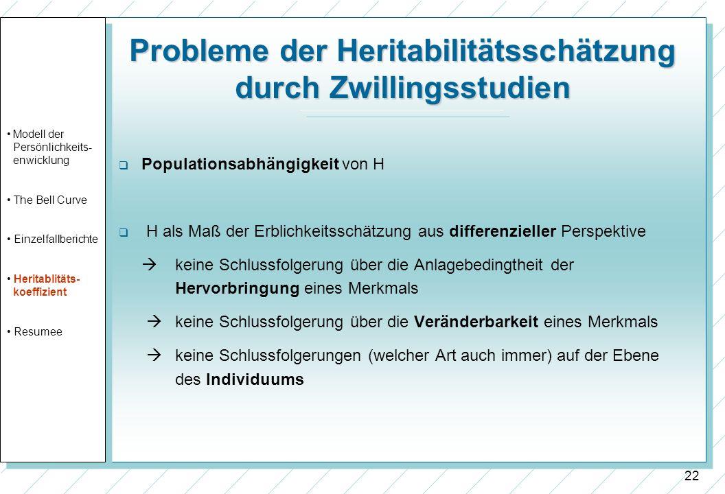 22 Probleme der Heritabilitätsschätzung durch Zwillingsstudien Populationsabhängigkeit von H H als Maß der Erblichkeitsschätzung aus differenzieller P