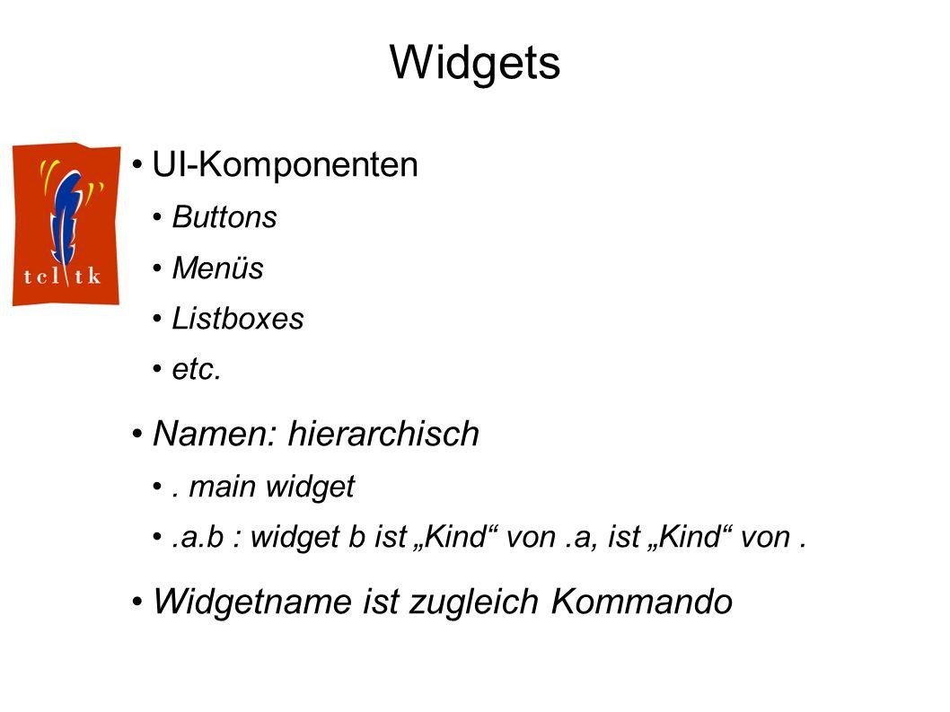 Widgets UI-Komponenten Buttons Menüs Listboxes etc. Namen: hierarchisch. main widget.a.b : widget b ist Kind von.a, ist Kind von. Widgetname ist zugle