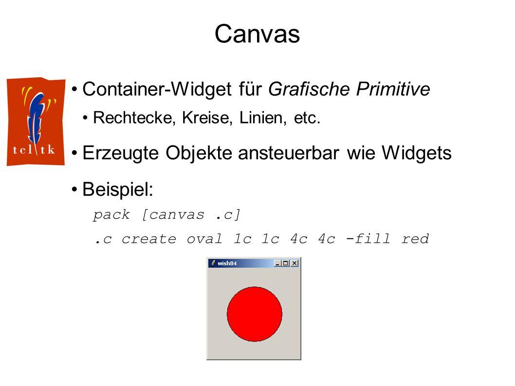 Canvas Container-Widget für Grafische Primitive Rechtecke, Kreise, Linien, etc. Erzeugte Objekte ansteuerbar wie Widgets Beispiel: pack [canvas.c].c c
