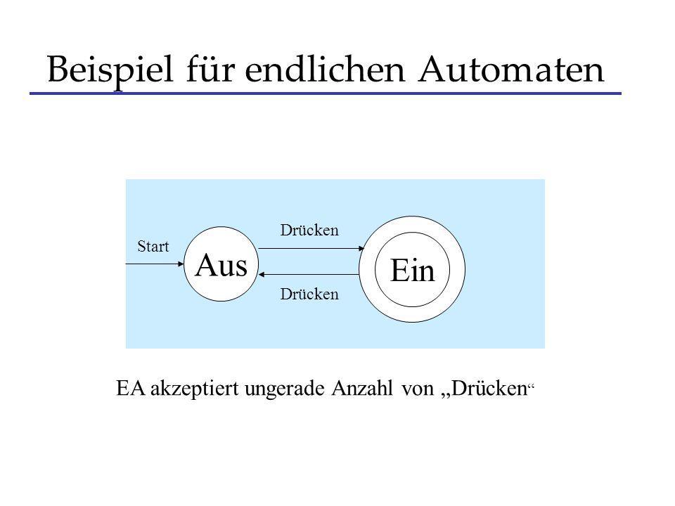 Beispiel für endlichen Automaten Aus Start Drücken EA akzeptiert ungerade Anzahl von Drücken Ein