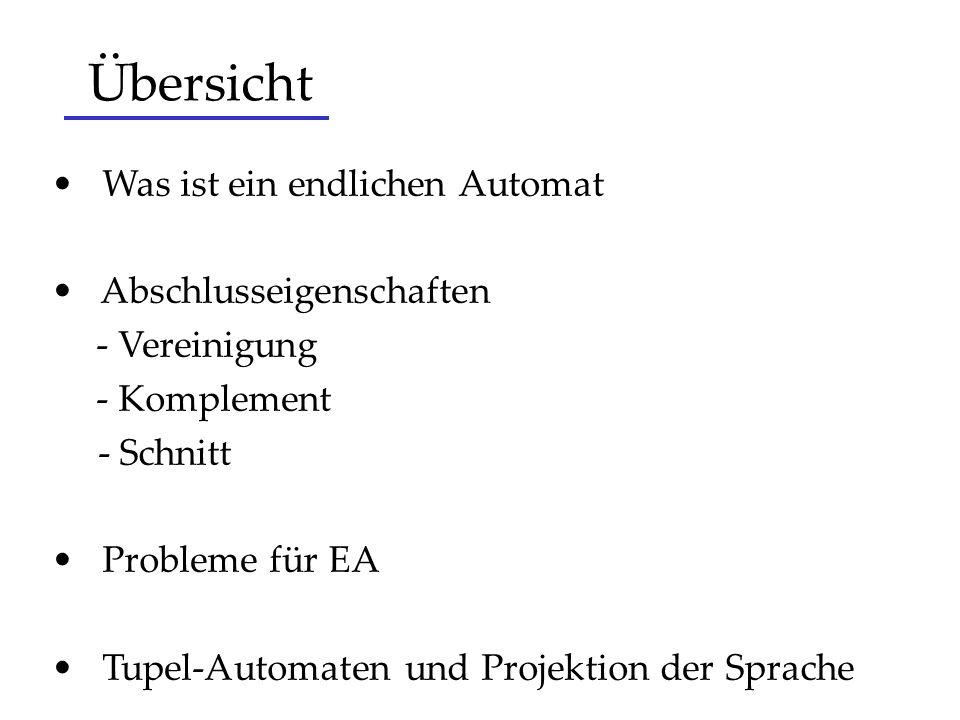 Übersicht Was ist ein endlichen Automat Abschlusseigenschaften - Vereinigung - Komplement - Schnitt Probleme für EA Tupel-Automaten und Projektion der