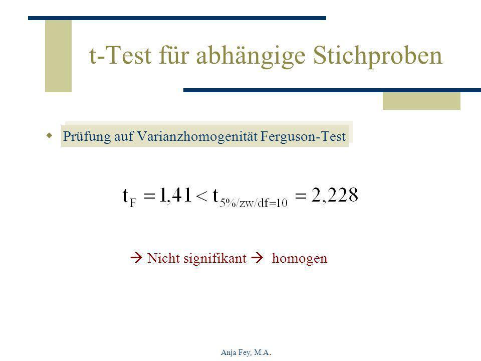 Anja Fey, M.A. t-Test für abhängige Stichproben Prüfung auf Varianzhomogenität Ferguson-Test Nicht signifikant homogen