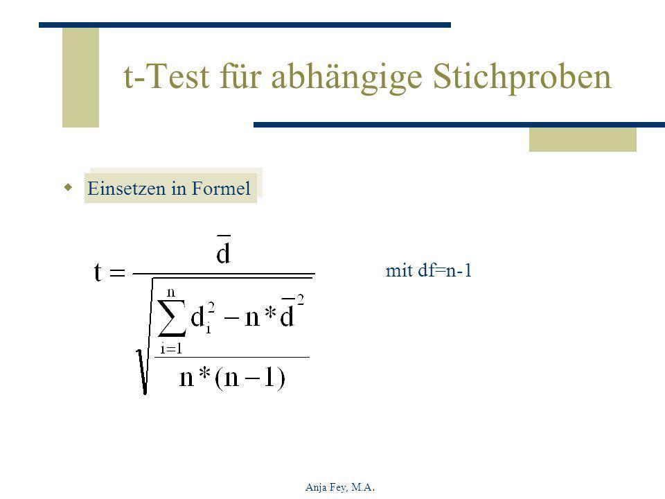 Anja Fey, M.A. t-Test für abhängige Stichproben Einsetzen in Formel mit df=n-1