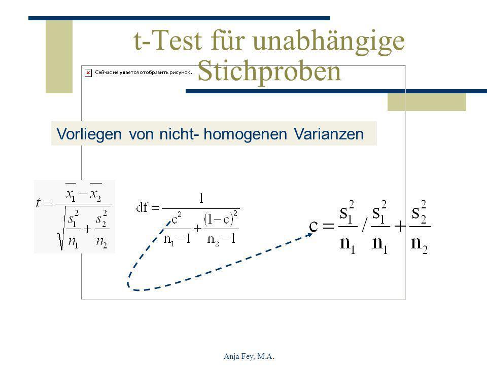 Anja Fey, M.A. t-Test für unabhängige Stichproben Vorliegen von nicht- homogenen Varianzen