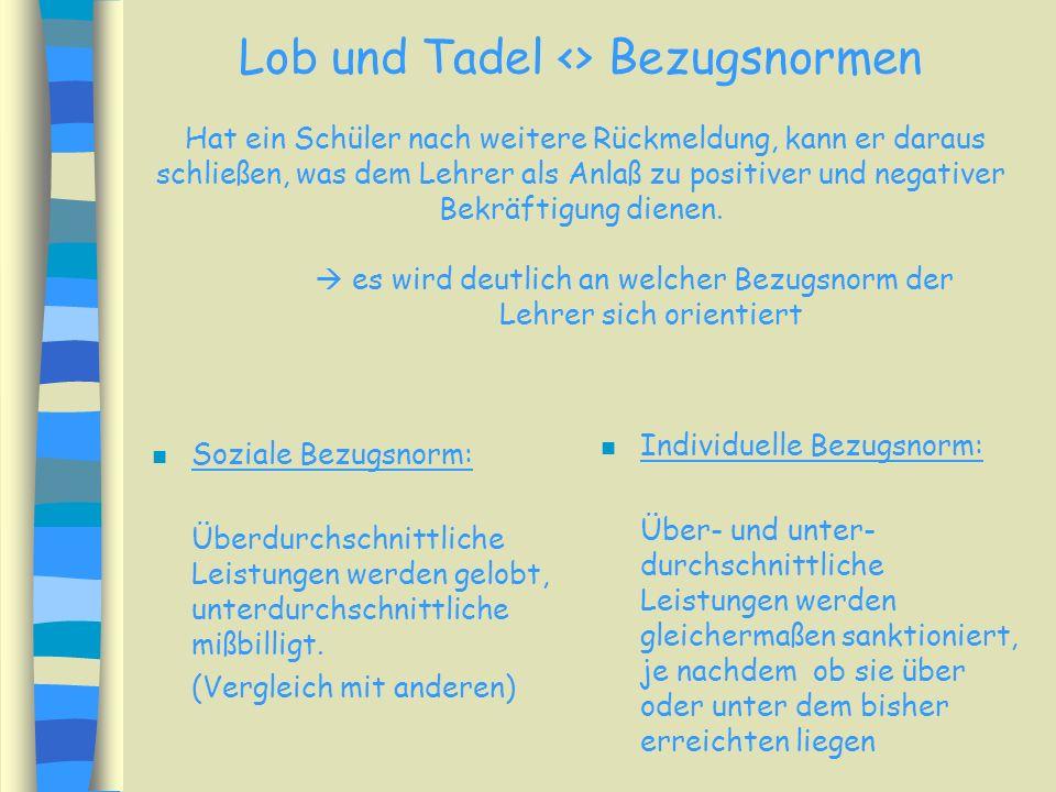 Lob und Tadel n Anerkennung und Mißbilligung sind die Instrumentarien des Lehrers, dem man besondere Wirksamkeit zutraut. n Lob und Tadel Anlaß, Zeitp