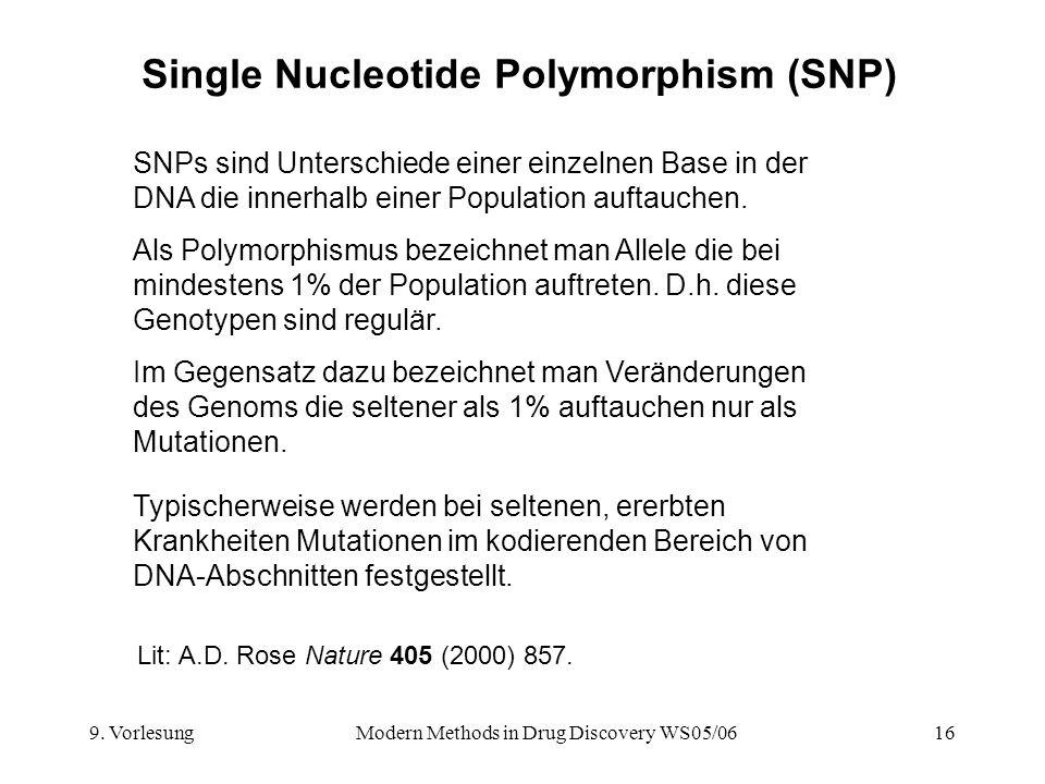 9. VorlesungModern Methods in Drug Discovery WS05/0616 Single Nucleotide Polymorphism (SNP) SNPs sind Unterschiede einer einzelnen Base in der DNA die