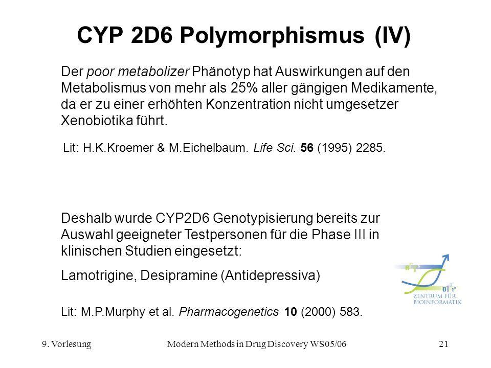 9. VorlesungModern Methods in Drug Discovery WS05/0621 CYP 2D6 Polymorphismus (IV) Der poor metabolizer Phänotyp hat Auswirkungen auf den Metabolismus