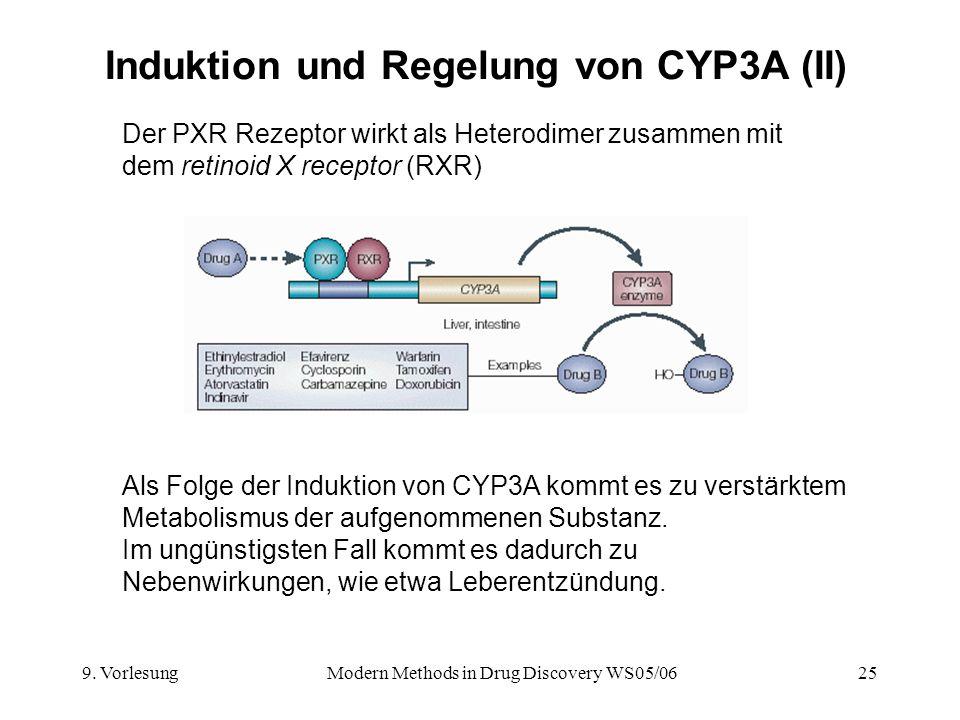 9. VorlesungModern Methods in Drug Discovery WS05/0625 Induktion und Regelung von CYP3A (II) Der PXR Rezeptor wirkt als Heterodimer zusammen mit dem r